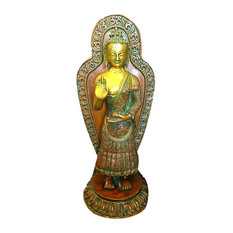 Mogul Interior - Blessing Buddha Brass Statue Yoga Sculpture Figurine Idol, Holiday Gift - Decorative Objects And Figurines