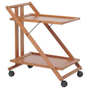 Modern 2-Tier Serving Trolley Cart, Solid Beech Wood, Folding Design, Noce