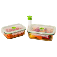 5 Piece Glass Vacuum Food Storage Containers, Rectangle, Small