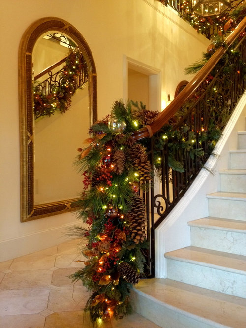 Decorative banister houzz - Christmas decorations for stair rail ...
