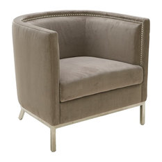 Fabric Barrel Back Occasional Chair Grey