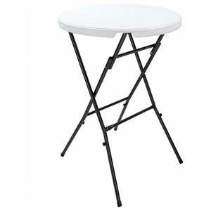 Foldable Bistro Table With White Plastic Top and Metal Base, Simple Round Design