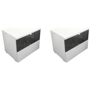 Miro Set of 2 Bedside Cabinets, White and Grey Gloss