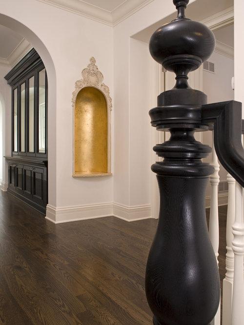 black lacquer cabinet staircase design ideas