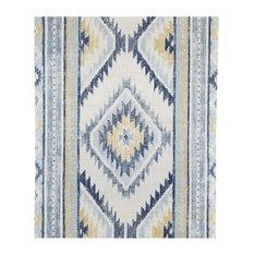 Global Style Southwestern Boho Mud Cloth Blue Wallpaper, Yard