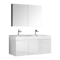 "Vista 48"" White Wall Hung Double Sink Modern Bathroom Vanity, FFT3071BN"