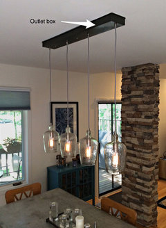 How to attractively center an off center dining room light for Chandelier centre de table
