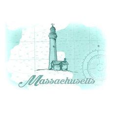 Massachusetts, Lighthouse, Teal, Coastal Icon  Print, 16 x24