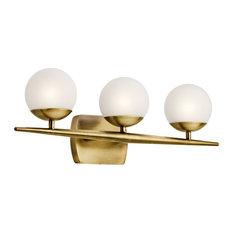 Kichler Jasper 3 Light Bath Light in Natural Brass