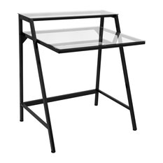 LumiSource 2-Tier Desk, Black and Clear