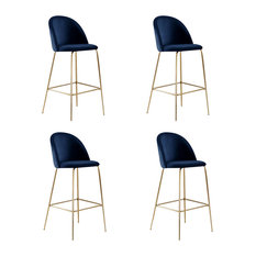 Millennial Brass Velvet Upholstered Dining Bar Stool, Royal Blue, Set of 4