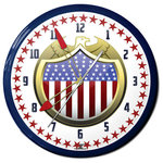 "Image Time - USA Eagle Shield Neon Wall Clock, 20"", Aluminum, Made in USA - USA Eagle Shield Neon Aluminum 20"" Wall Clock, Made in USA - 1 Year Warranty New.  Made to order."