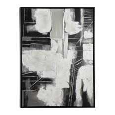 Gray, Black and White 3D Multi-Media Abstract Painting, Wood Frame