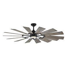 "Feiss - 62"" Prairie Fan, Aged Pewter, Frosted White - Ceiling Fans"