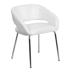 Fusion Series Contemporary White Leather Side Reception Chair