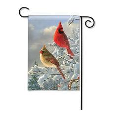 Winter Cardinals BreezeArt Garden Flag
