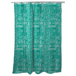 "Island Girl Home, Inc. - Beach Vacation Words Shower Curtain, Aqua - Size: 71""W x 73""H"