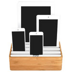 ALLDOCK - ALLDOCK Medium x4 Port Multi Device Charging Station, Bamboo/White, Medium - Changing the look of the USB universal charging for all Tablets, Phones ect. In a quality matte finish, with rubberized plastic, solid timbers or combinations of both.