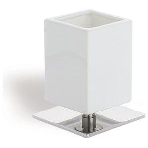 Square White Ceramic Toothbrush Holder