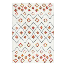 Moroccan Trellis Diamond Expo Shag Area Rug, White, 8'x10'