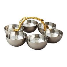 Elegance Golden Vine Hammered Stainless Steel Bowl Server, Set of 6