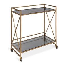 Blex 2-Shelf Glass and Metal Rolling Bar Cart, Gold 25.75x12.75x31.75