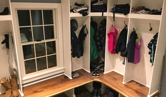 Mudroom with custom made black walnut bench