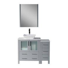 "Sydney 42"" Vanity Set With Vessel Sink and Side Cabinet"