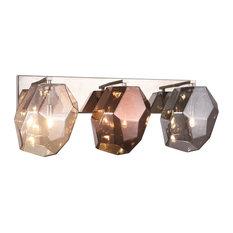 Elegant Gibeon 3-Light Wall Sconce Polished Nickel And Golden Teak