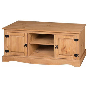 Traditional TV Media Unit, Solid Pine Wood With 2-Door and 2 Open Cases