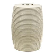 "18"" Beige Ribbed Porcelain Garden Stool"