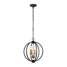 Kara 3-Light Chandelier, Black With Vintage Bronze Cluster