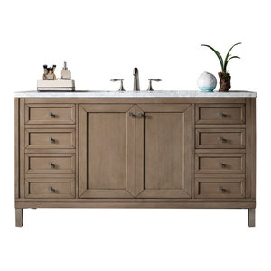 "Chicago 60"" White Washed Walnut Vanity, 3cm Carrara White Marble Top"