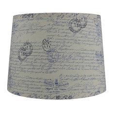 "French Drump Lamp Shade, Linen, Natural, Blue Script, 14"""