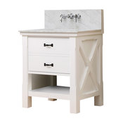 "Xtraordinary Spa 32"" White Vanity, Carrara Marble Top, Without Mirror"