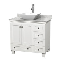 "36"" Acclaim White Single Vanity, White Carrera Top and Pyra White Porcelain Sink"