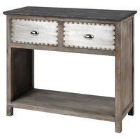 """38"""" Brown and Silver Mississippi Queen 2-Drawer Wood Console Table"""