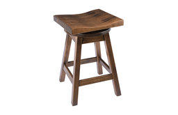 """Rustic Swivel Saddle Stool, Maple Wood, Cappuccino, Counter Height, 24"""""""