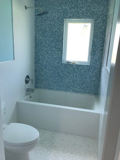 Cute Love these bathrooms Love the colors used Check out a bathroom we just did that was very fun It us not plete waiting for a beautiful white mirror to
