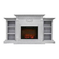 72.3-inchx15-inchx33.7-inch Sanoma Fireplace Mantel With Logs Insert