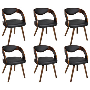 vidaXL Dining Chairs With Padded Bentwood Backrest, Set of 6