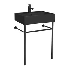 Matte Black Ceramic Console Sink and Matte Black Stand, One Hole