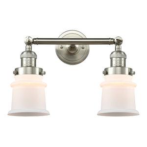 Small Canton 2-Light Bath Vanity-Light, Brushed Satin Nickel, Matte White