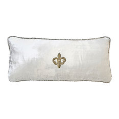 White Velvet Pillow With Gold Beaded Trim and Gold Fleur Di Lis Pin