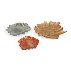 Harvest 3-Piece Leaves Glass Plate Set