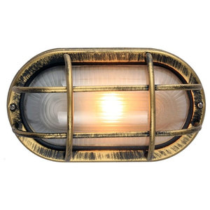 Black/Gold Cast Aluminium Outdoor Oval Bulkhead Wall Light