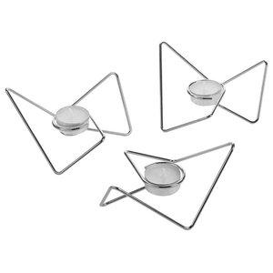 Loop Tri Angular Tealight Holders, Set of 3, Chrome