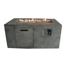 Crawford & Burke - Suzano Gray Cement Rectangular Gas Fire Pit - Fire Pits