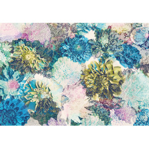 Frisky Flowers Abstract Photo Wall Mural, 368x254 cm