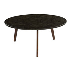 Stella Round Black Marble Coffee Table With Walnut Legs 31-inch